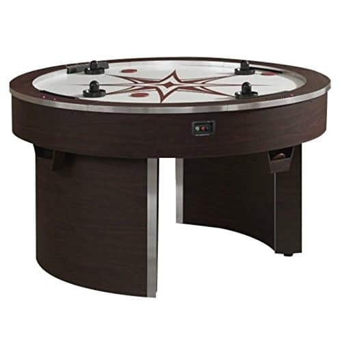 BOWERY HILL 4 Player Air Hockey Table in Brown and White