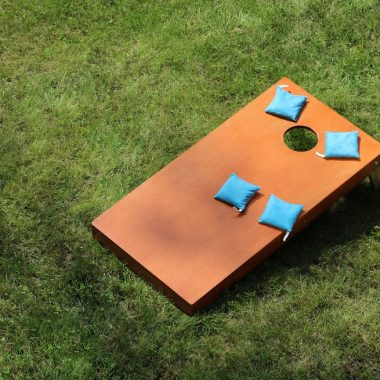 top view of cornhole table