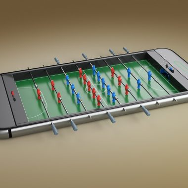 Mobile phone with foosball app