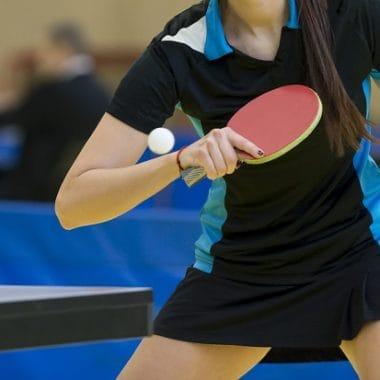 Ping pong table woman