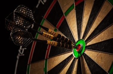 Three darts in bull's eye