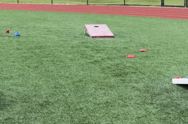 Field set up with cornhole