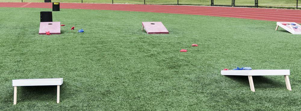 Field set up with cornhole