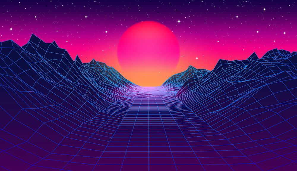 80s synthwave styled landscape