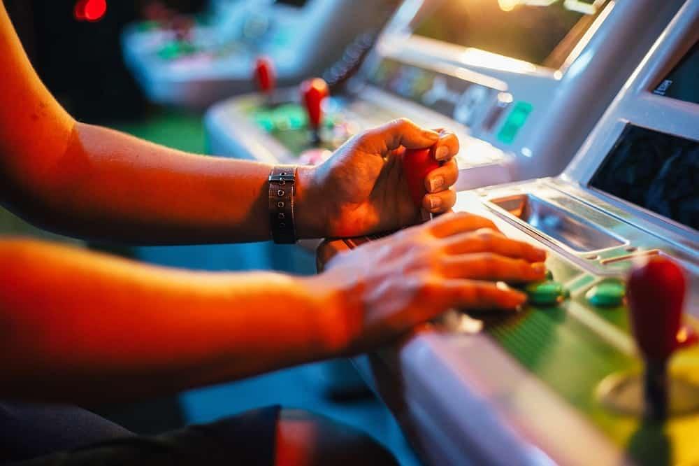 playing an arcade game