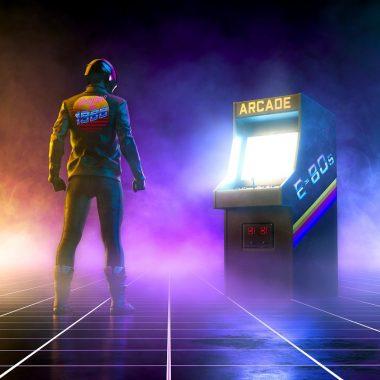 cyberpunk arcade cabinet